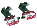 Red Race Bicycle Pedals with Plastic Toe Clips without...