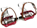 Red Anodized Road Bike Aluminum Pedals with Retro Toe...